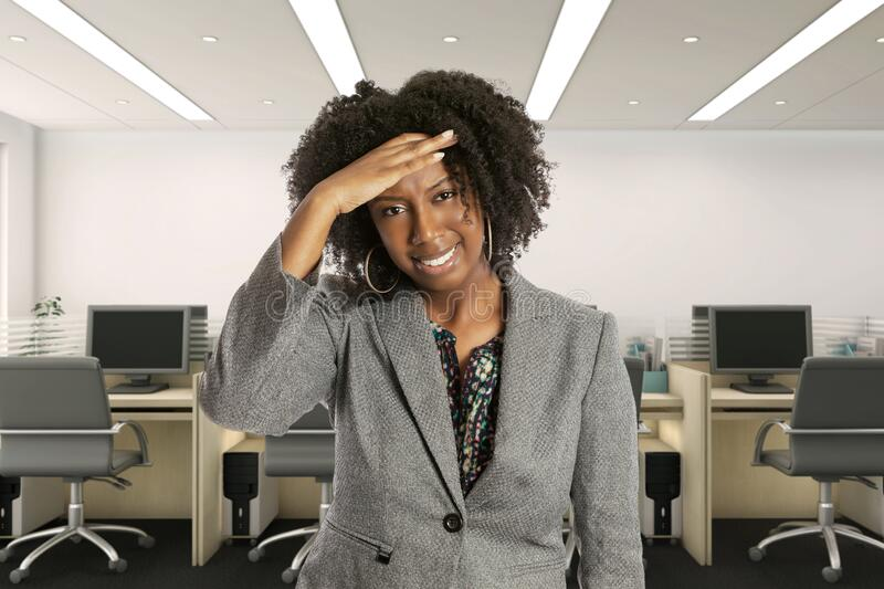 Female Office Worker Feeling Sick with Symptoms royalty free stock photography