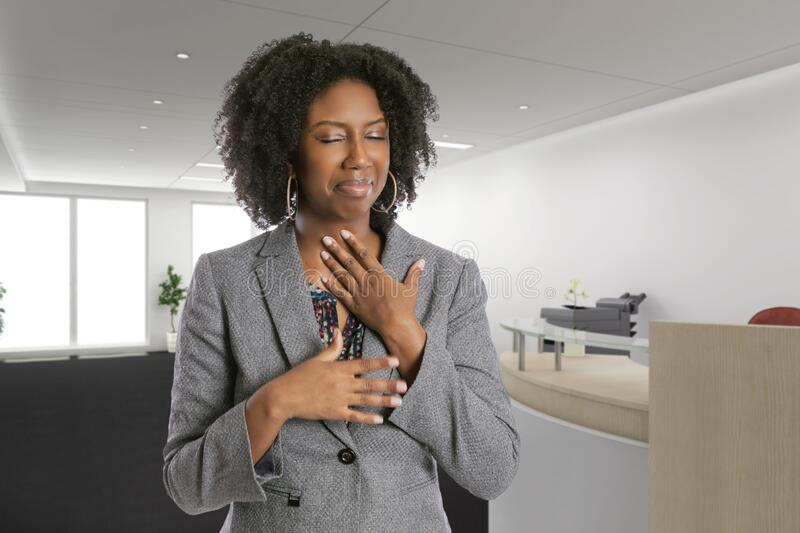 Female Office Worker Feeling Sick with Symptoms royalty free stock photo