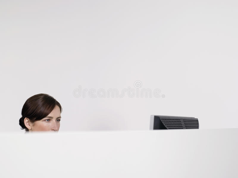 Female Office Worker In Office Cubicle. Young female office worker with computer in office cubicle stock photography