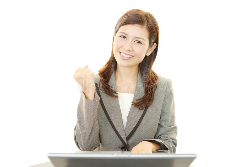 Download The Female Office Worker Who Poses Happily Stock Image - Image of cute, human: 39510097