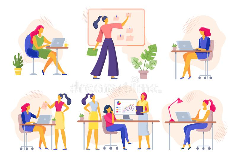 Female office workers. Business woman holds meeting, women team work together and businesswoman with laptop vector royalty free illustration