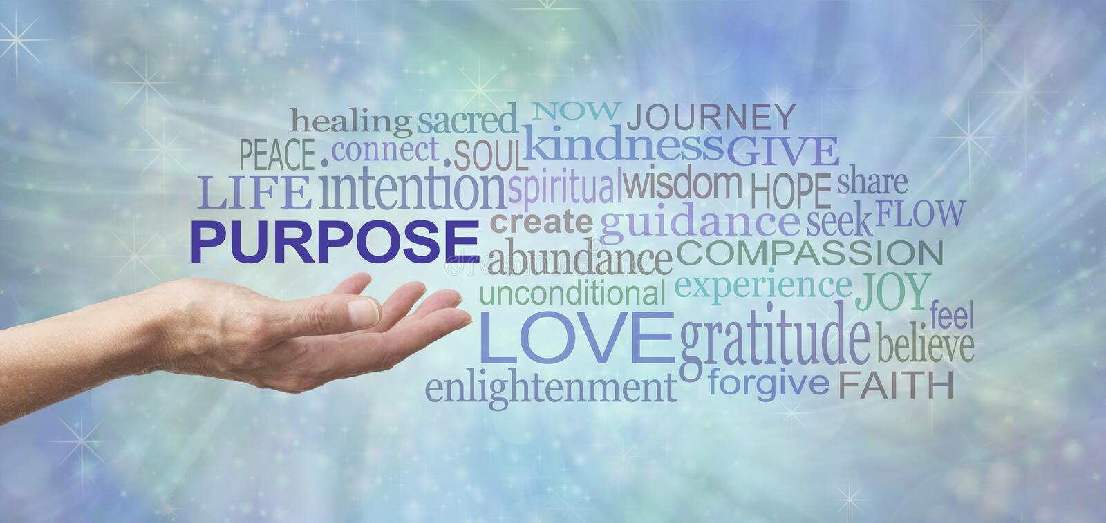 Life`s Purpose Word Tag Cloud. Female open palm hand with the word PURPOSE floating above surrounded by a relevant word tag cloud on a soft blue flowing energy royalty free stock photo