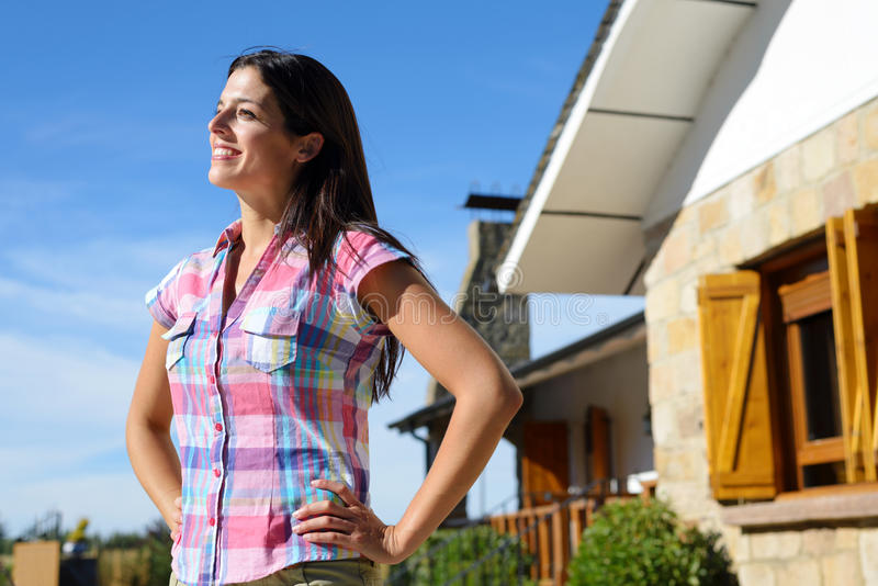 Female owner of country house royalty free stock images