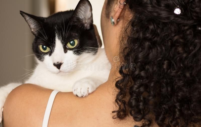 Female owner with curly hair holding domestic black and white cat pet with green eyes. Concept of love to animals, pets, lifestyle. Close up of female owner with stock photo