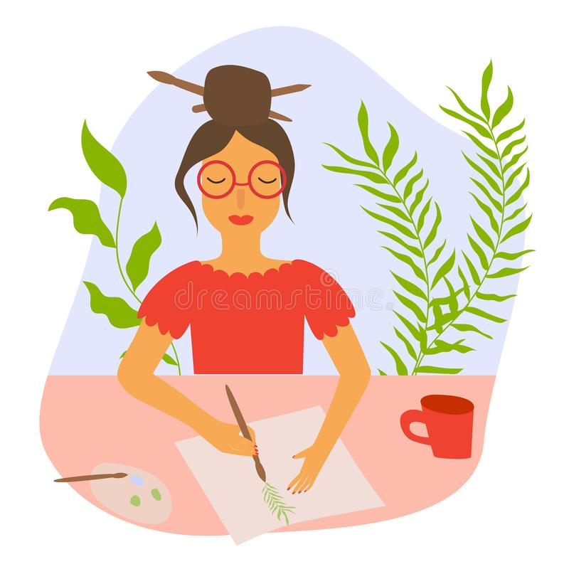 Female painter, artist, illustrator in work process. Creative women makes drawing, illustration with plant. Creative skill, talent stock illustration