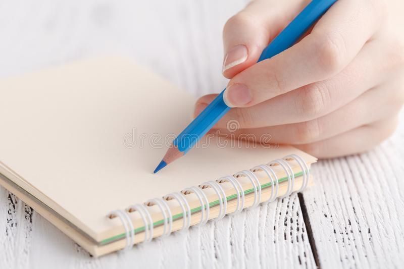 Female painting in notebook royalty free stock photo