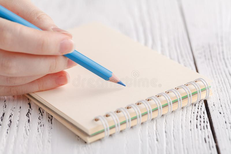 Female painting in notebook stock photography