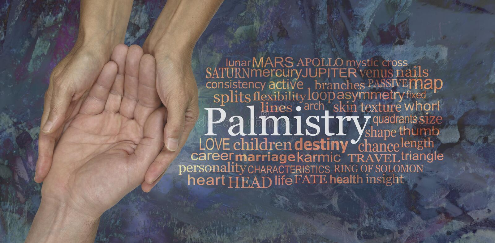 Aspects of Palmistry Word Tag Cloud stock photos