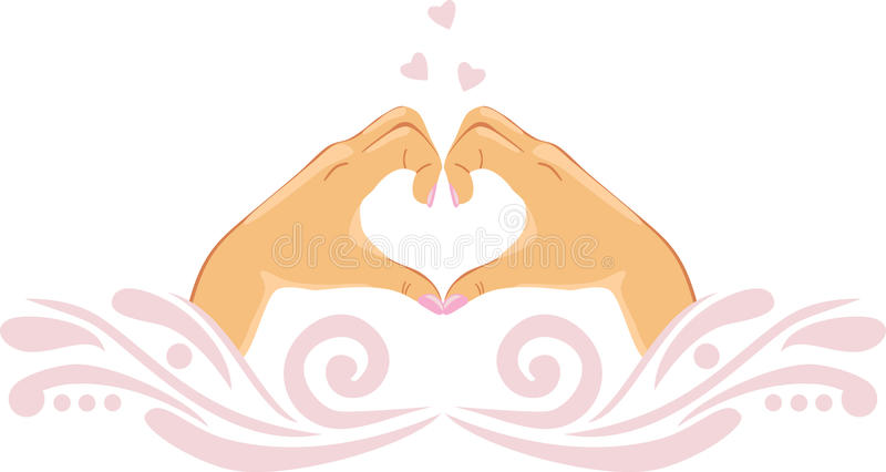 Female palms in the shape of heart. Icon for design royalty free stock image
