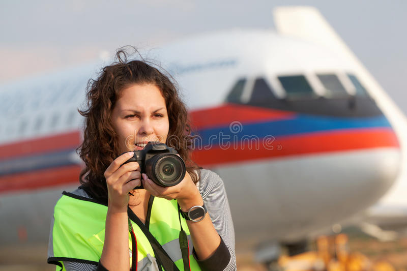 Female participant of spotting at airport stock images