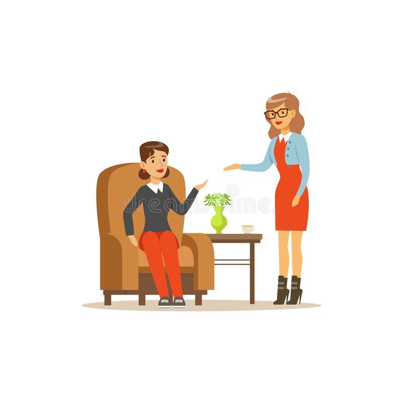 Female patient character talking to psychologist about problems, psychotherapy counseling, psychologist having session. With patient vector Illustration royalty free illustration