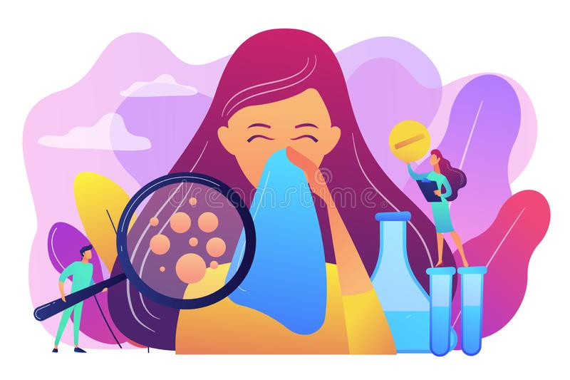 Allergic diseases concept vector illustration. Female patient sneezing, taking a pill from doctor and allergen under magnifier. Allergic diseases, allergy vector illustration
