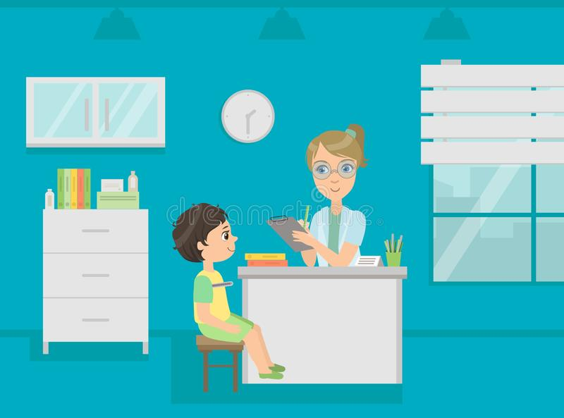 Female Pediatrician Doctor Consulting Boy Patient in Medical Office Vector Illustration vector illustration