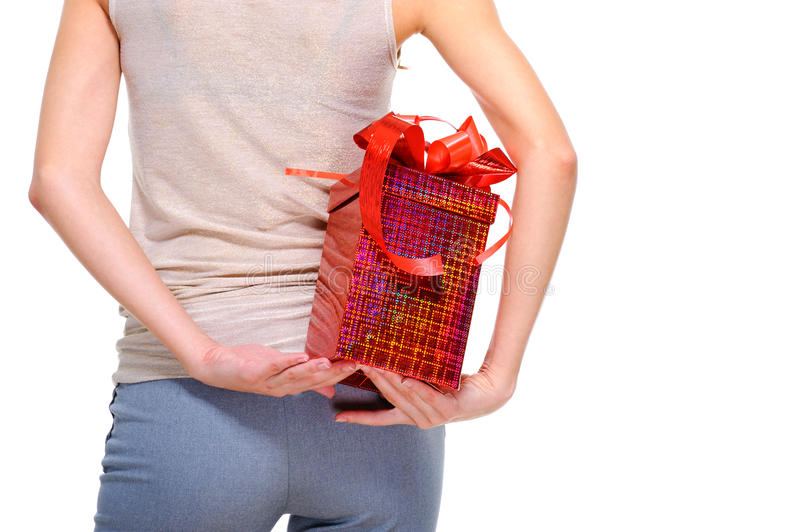 Download Female Person Hide Behind Back The Big Present Box Royalty Free Stock Photos - Image: 11341388