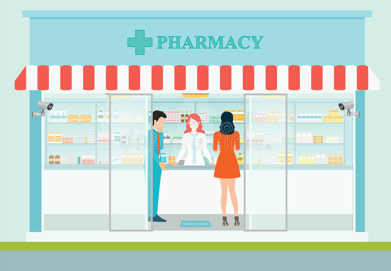 Female pharmacist at the counter in a pharmacy. royalty free illustration