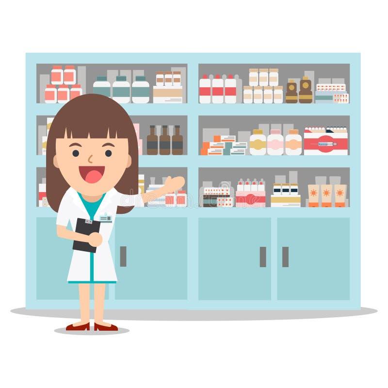 Female pharmacist in a pharmacy opposite the shelves. stock illustration