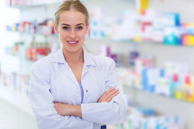 Female pharmacist stock image