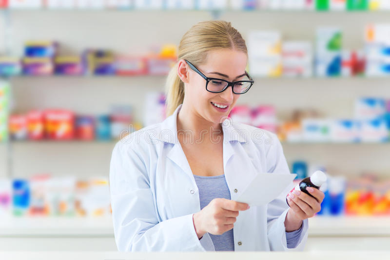 Female pharmacist royalty free stock photo