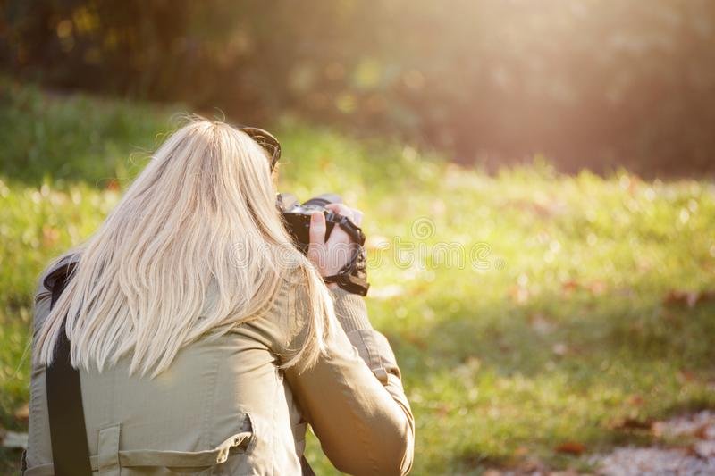 Female photographer outdoors shooting with her dslr. Photography, creativity and hobby concept royalty free stock image