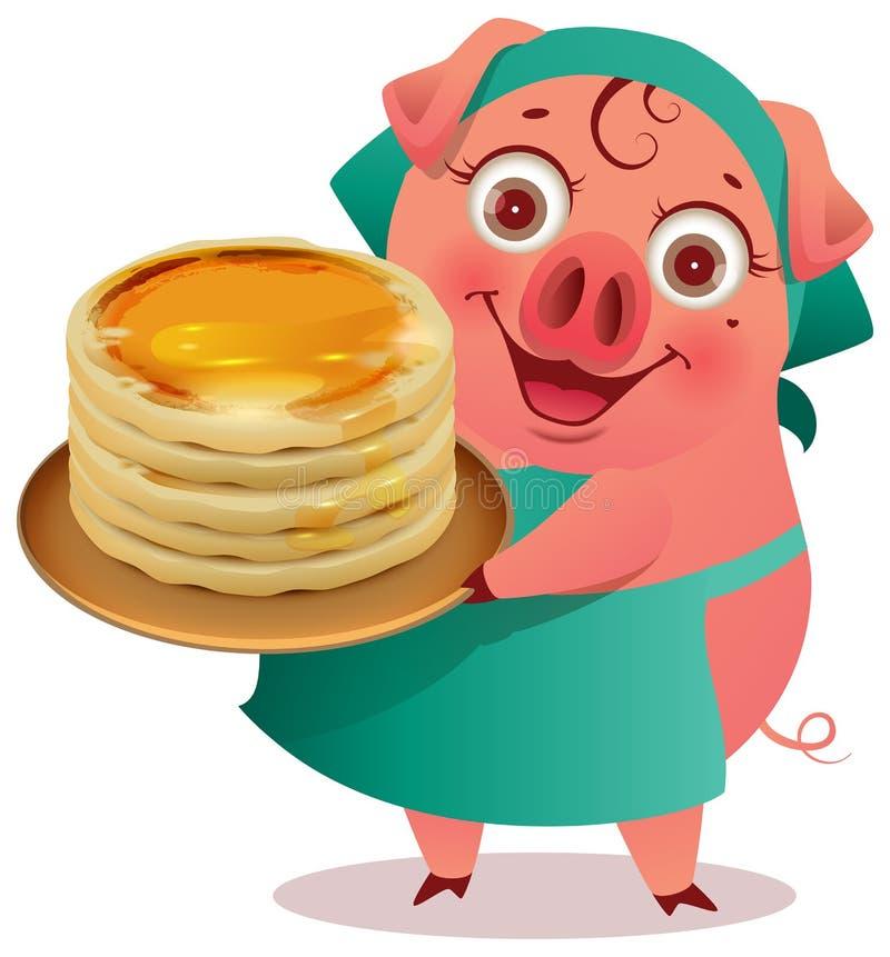 Female Pig cook keep stack of pancakes shrovetide carnival symbol vector illustration