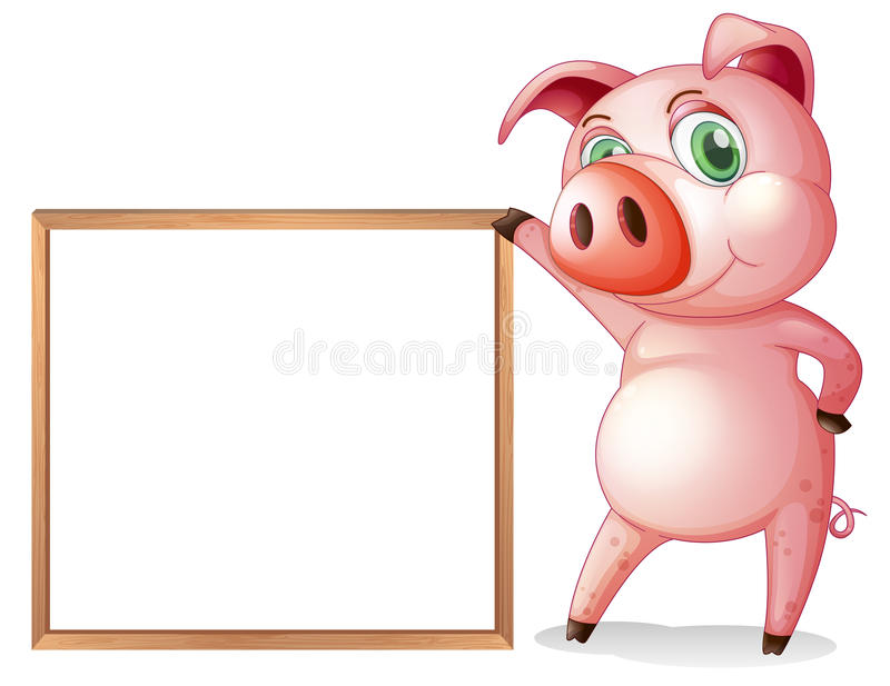 A Female Pig Beside An Empty Wooden Frame Stock Vector ...