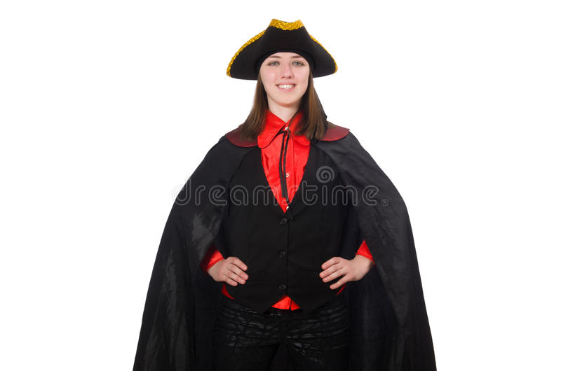 The female pirate in black coat isolated on white stock photos