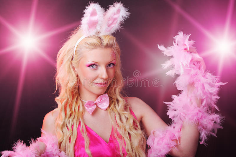 Female in playboy costume stock photo