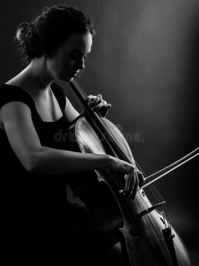 Download Female Playing The Cello Black And White Stock Image - Image: 35171617