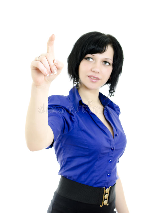 Download Female Pointing At Copyspace. Stock Photo - Image: 22982582