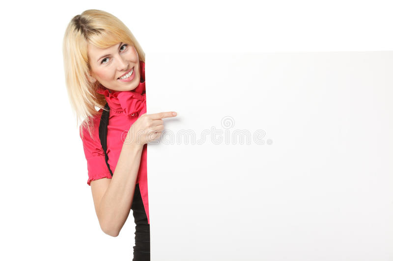 Download Female Pointing To The Blank Banner Royalty Free Stock Image - Image: 23030136
