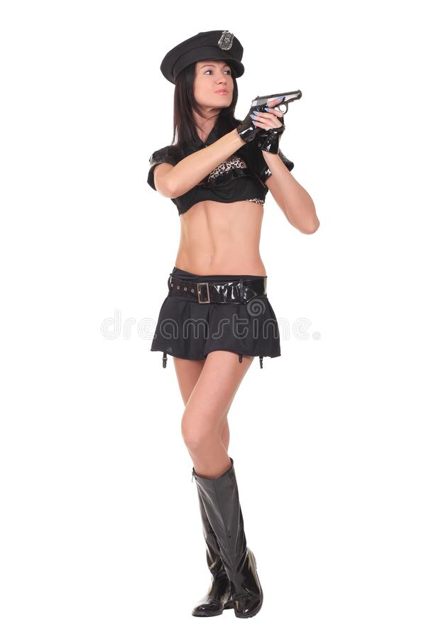 Female police. Isolated on the white background royalty free stock photography