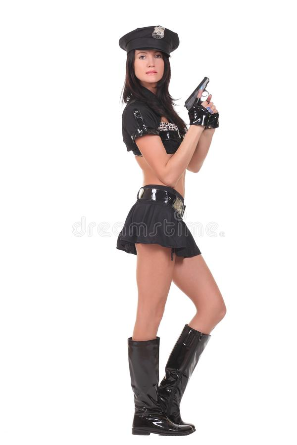 Female police. Isolated on the white background stock photos