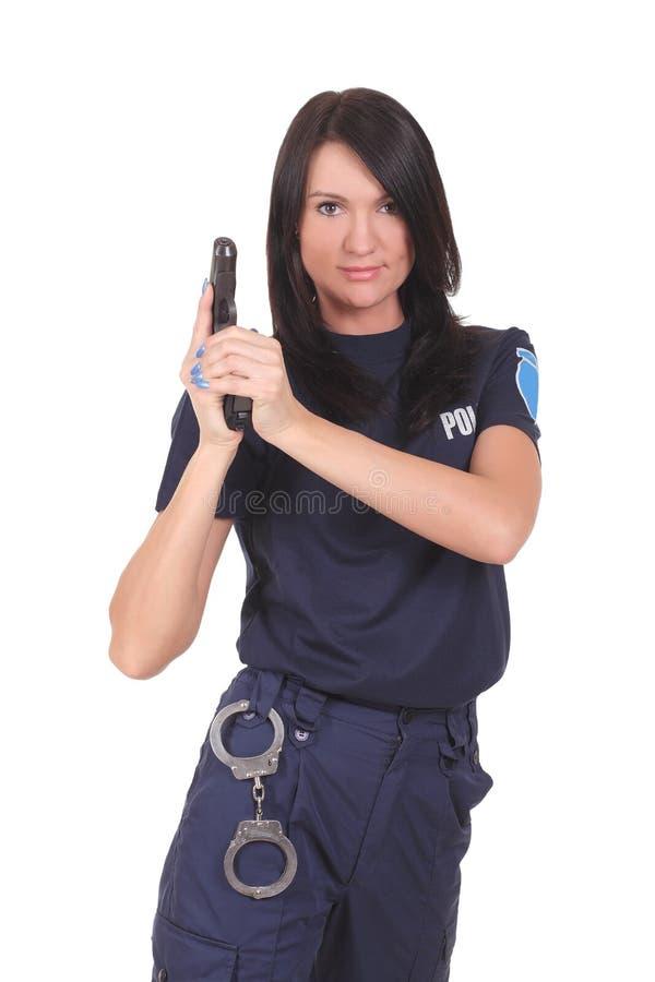 Female police. Isolated on the white background stock image