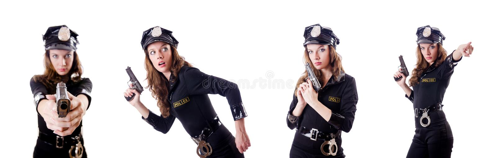The female police isolated on the white. Female police isolated on the white royalty free stock photos