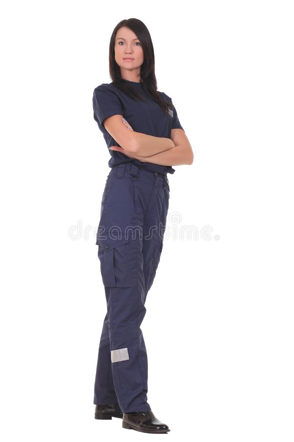 Female police. Isolated on the white background royalty free stock images