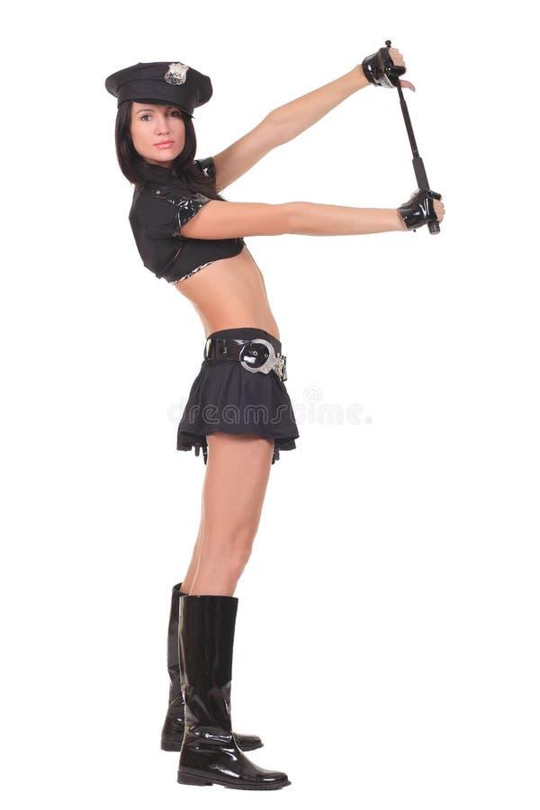 Female police. Isolated on the white background royalty free stock image