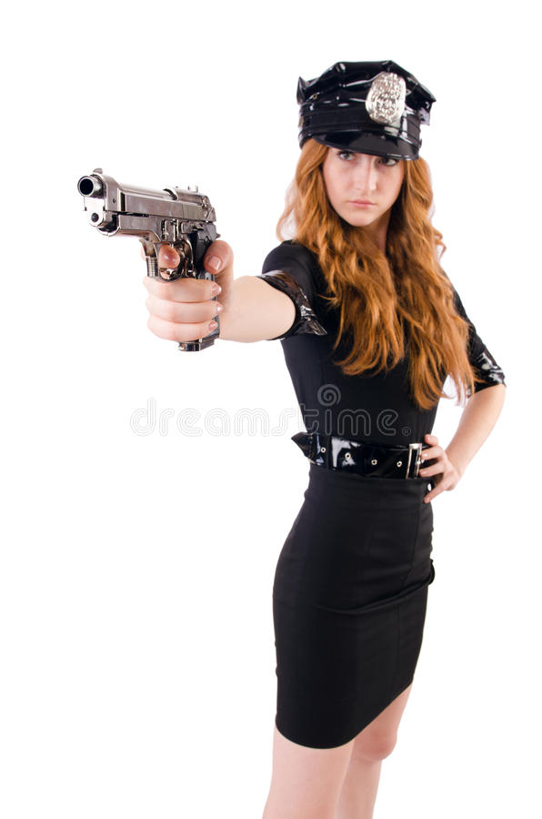 Female police office. Isolated on the white stock photography