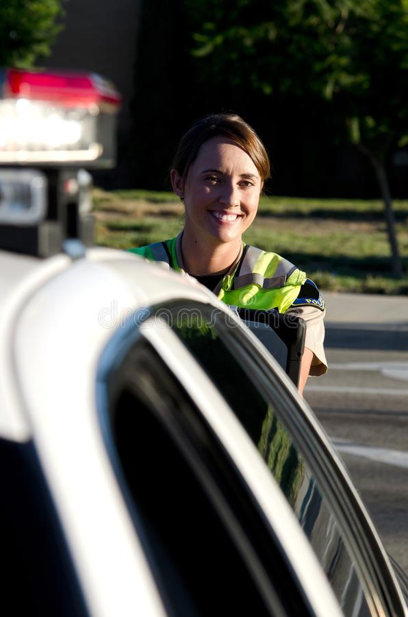 Download Female police officer stock photo. Image of grin, lightbar - 26681506