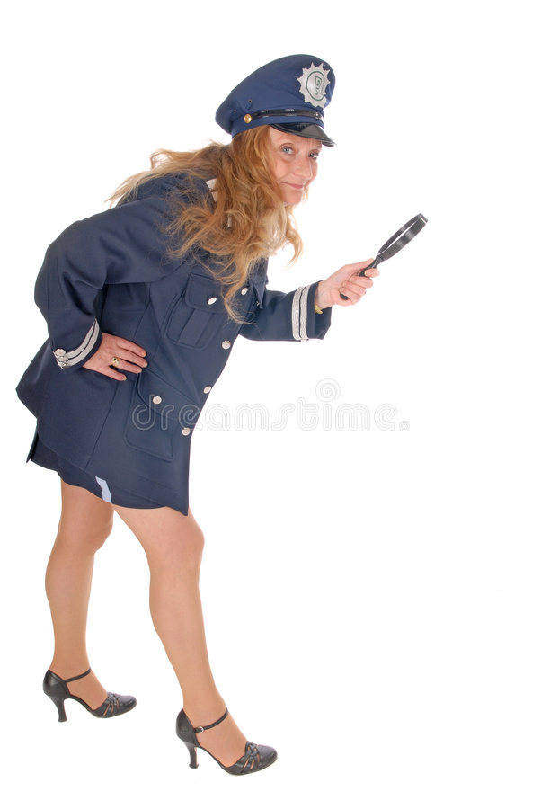 Download Female police officer stock image. Image of magnifying - 3380581