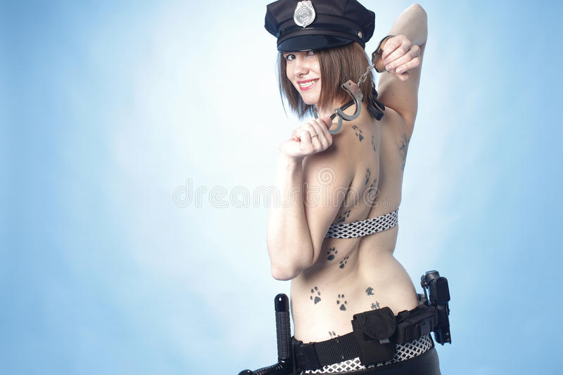 Download Female Police Officer With Cuffs Stock Image - Image of belt, caucasian: 17592581