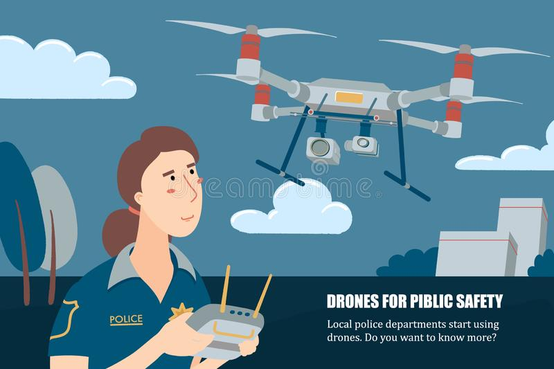 Female police officer operating drone, horizontal royalty free illustration