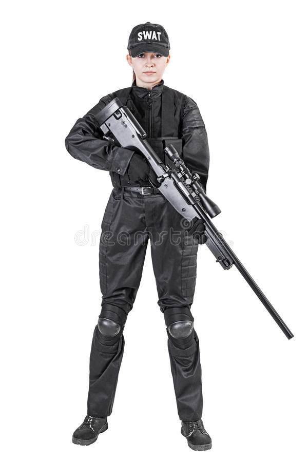 Female police officer. SWAT in black uniform with sniper rifle studio shot stock photos