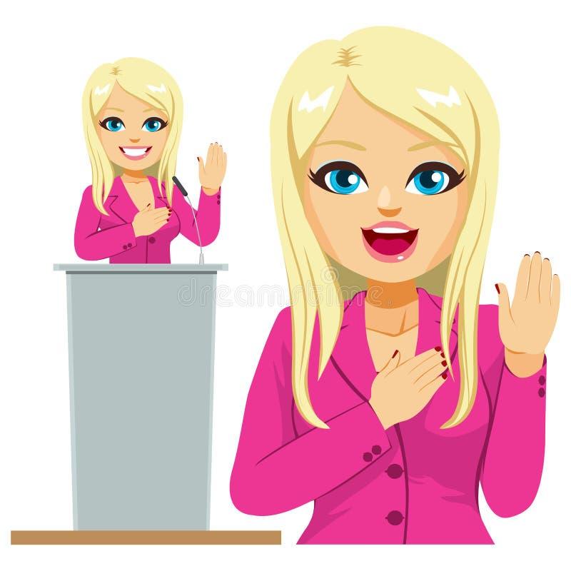 Female Politician Oath Promise vector illustration