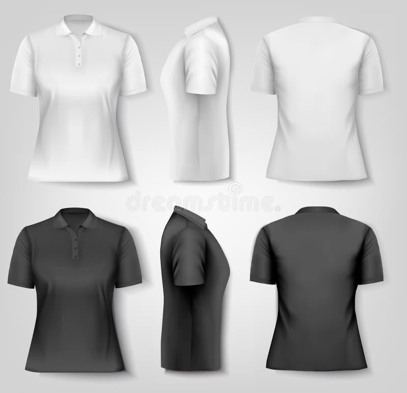 Female polo shirts. Design template. stock illustration