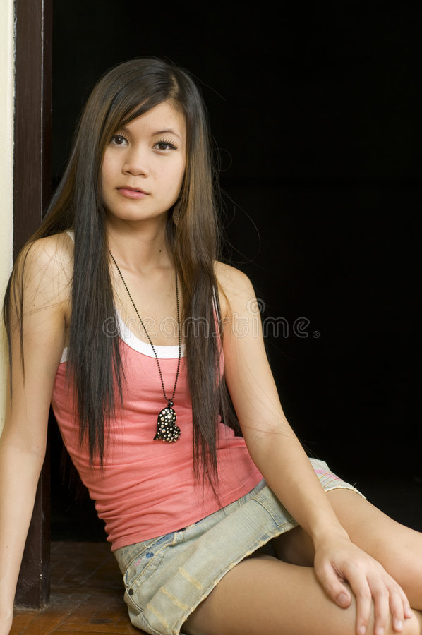 Asian Girl Leaning On A Bar Stool Stock Image - Image Of Eyes, Stool 5853393-1346