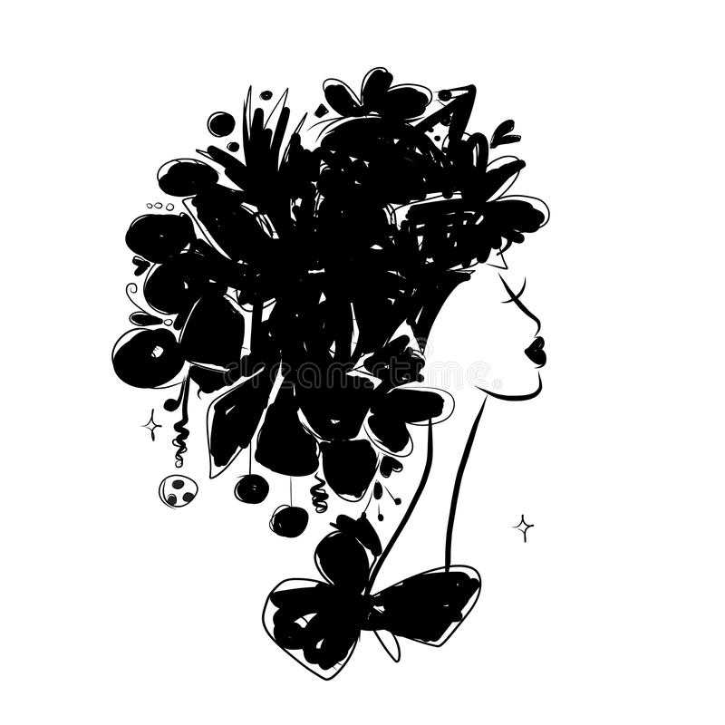 Female portrait, black silhouette for your design. Female portrait for your design. Vector illustration stock illustration