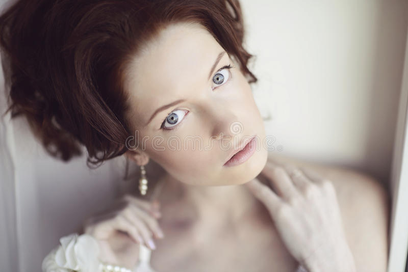Female portrait of cute lady indoors royalty free stock photo