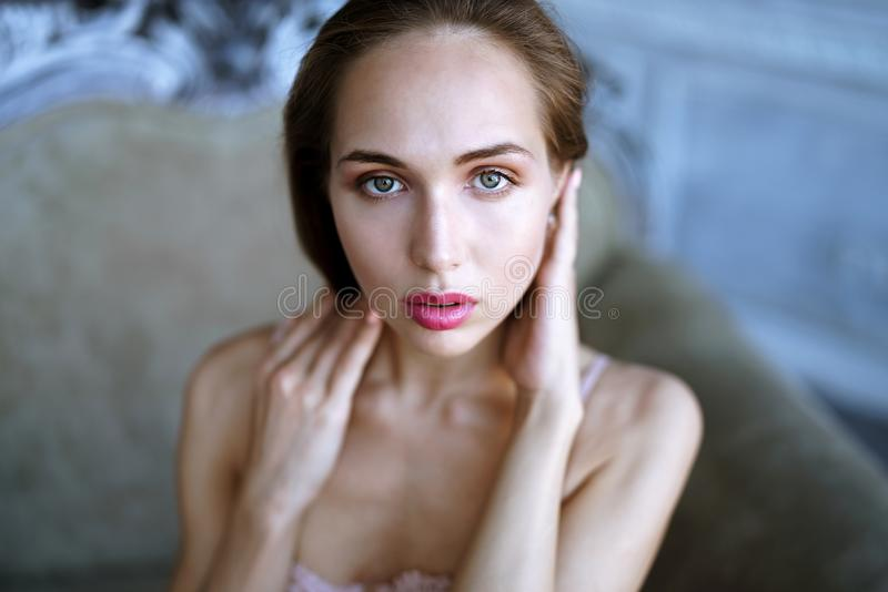 Female portrait of cute lady indoors stock image