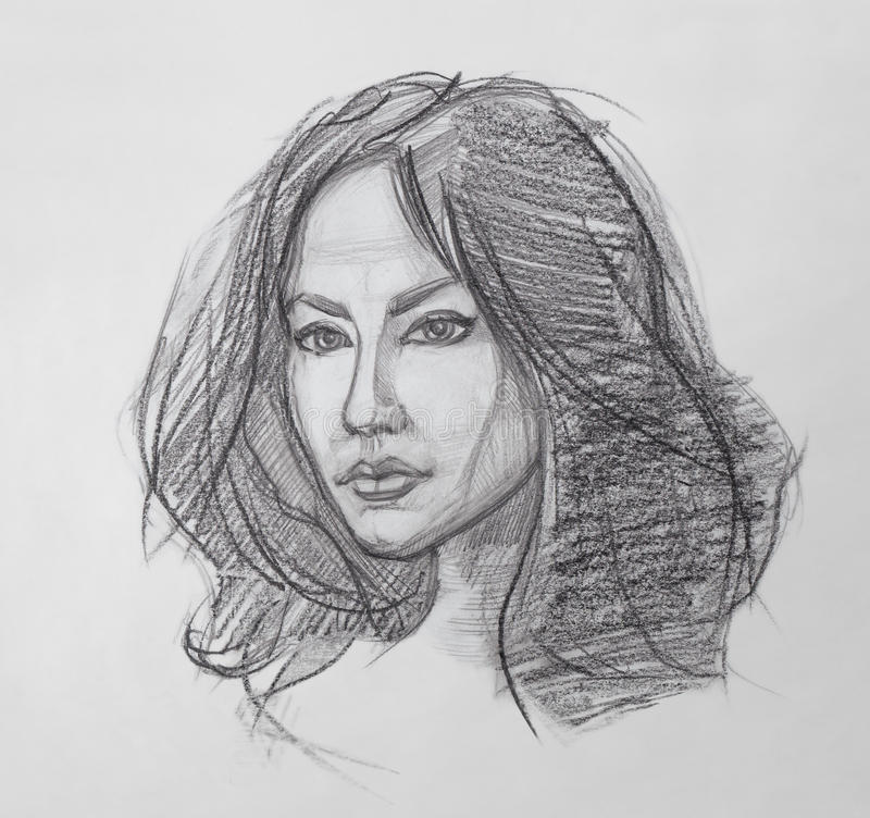 Female Portrait - Pencil Drawing stock illustration
