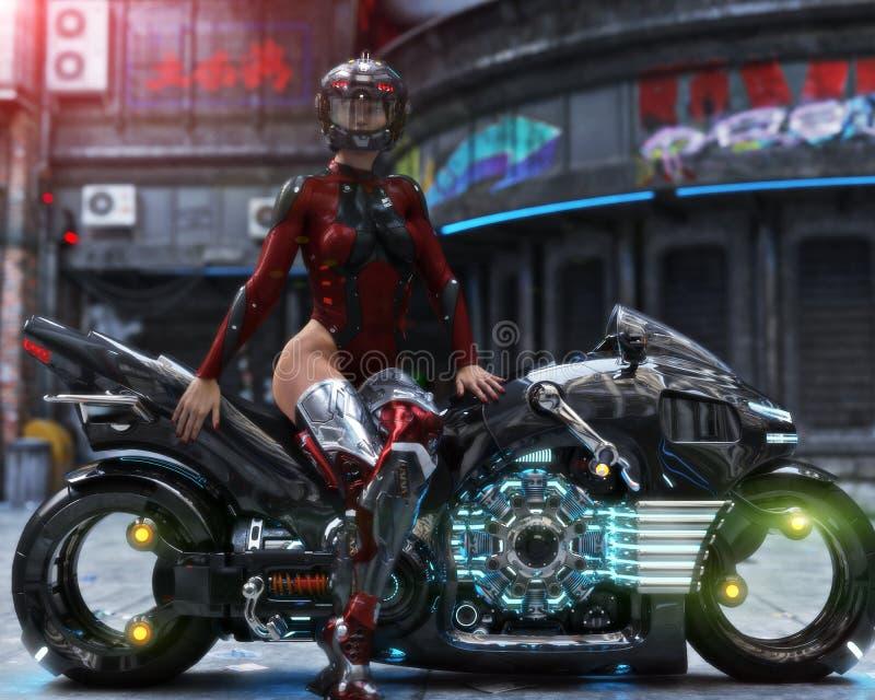 Female posing with futuristic bike in urban setting stock illustration